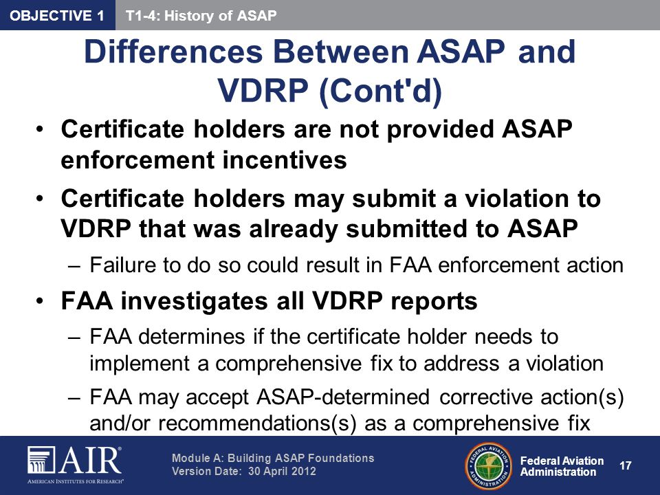 Differences Between ASAP and VDRP (Cont d)