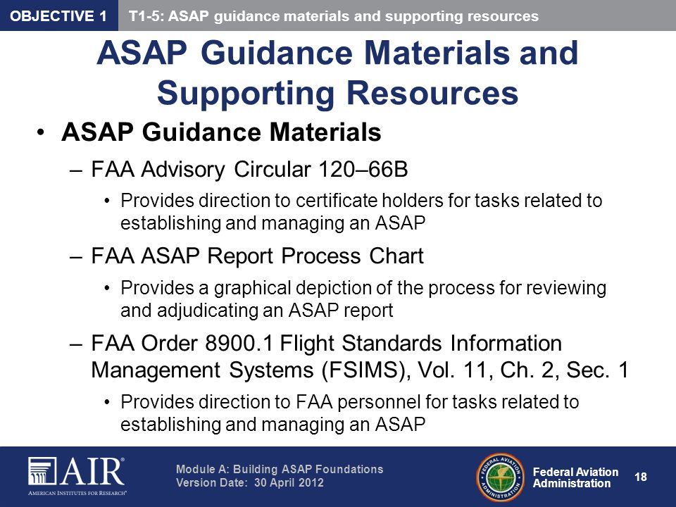 ASAP Guidance Materials and Supporting Resources
