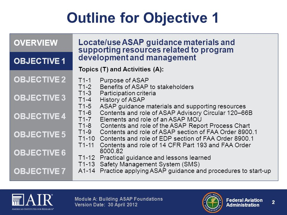 Outline for Objective 1 OVERVIEW