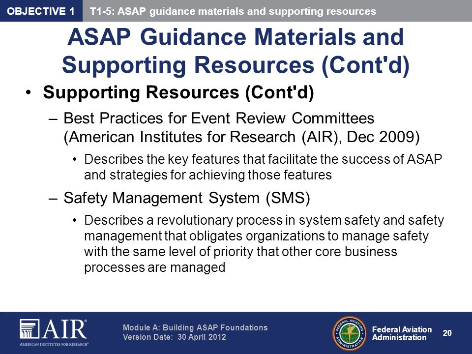 ASAP Guidance Materials and Supporting Resources (Cont d)