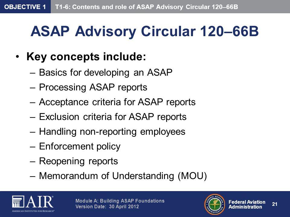 ASAP Advisory Circular 120–66B