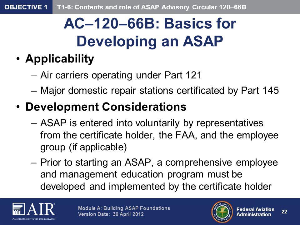 AC–120–66B: Basics for Developing an ASAP
