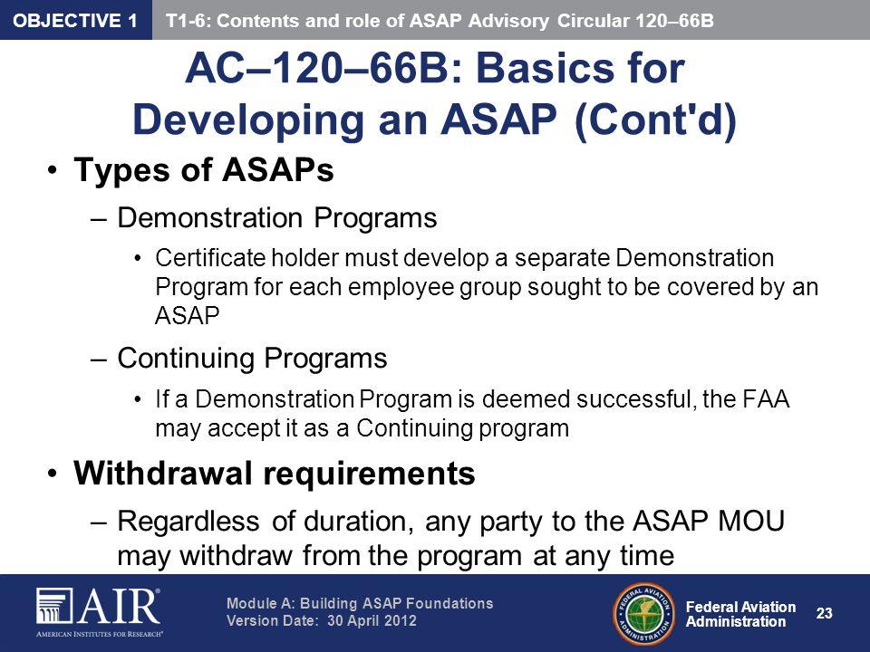 AC–120–66B: Basics for Developing an ASAP (Cont d)