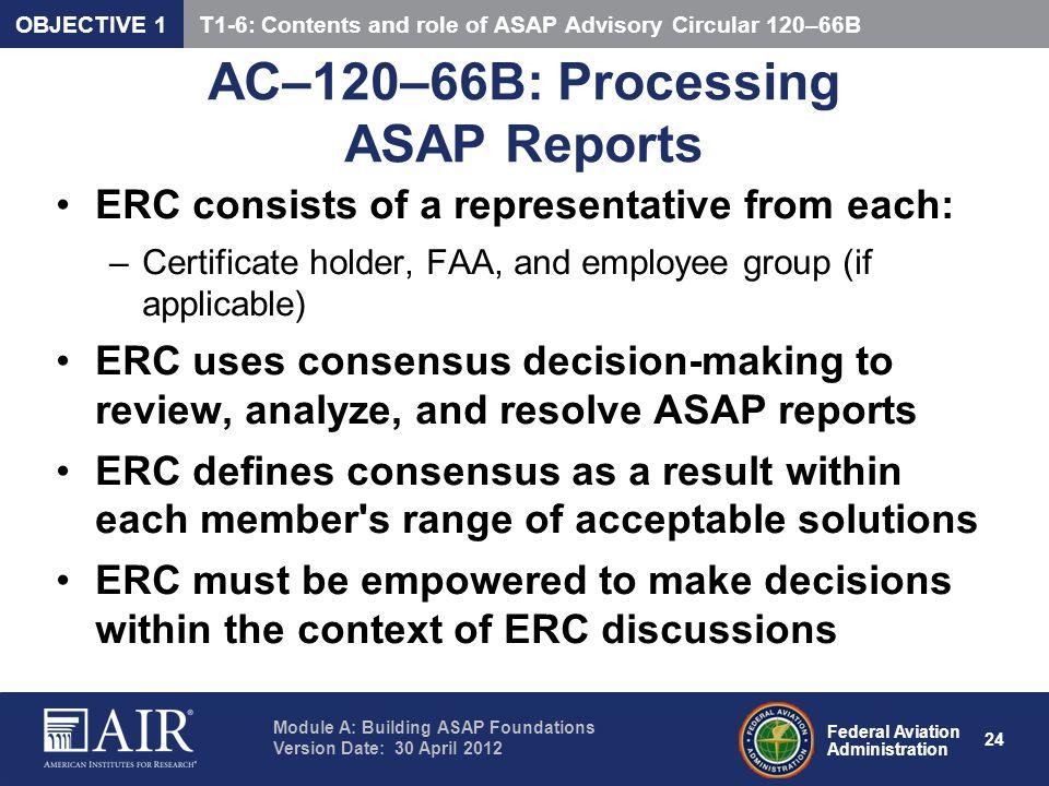 AC–120–66B: Processing ASAP Reports