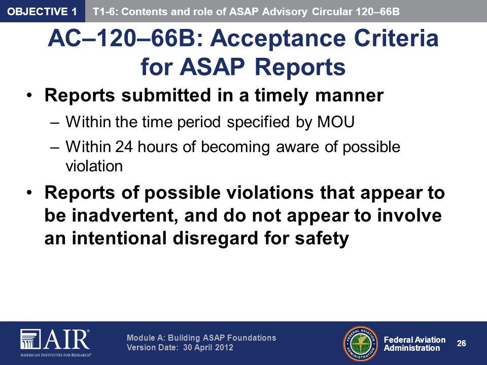 AC–120–66B: Acceptance Criteria for ASAP Reports