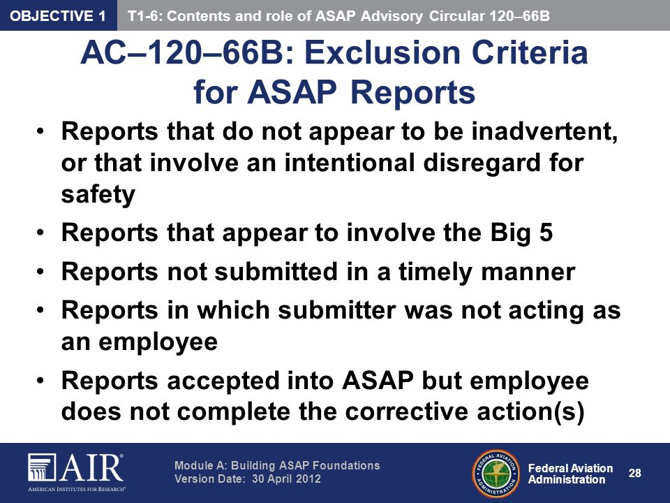 AC–120–66B: Exclusion Criteria for ASAP Reports