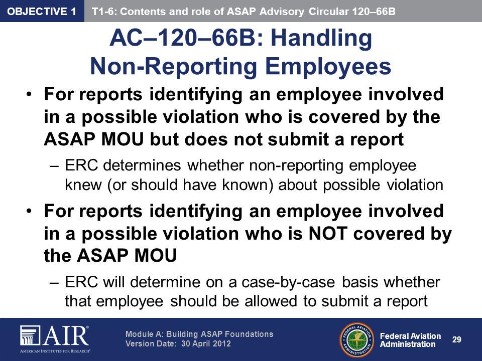 AC–120–66B: Handling Non-Reporting Employees