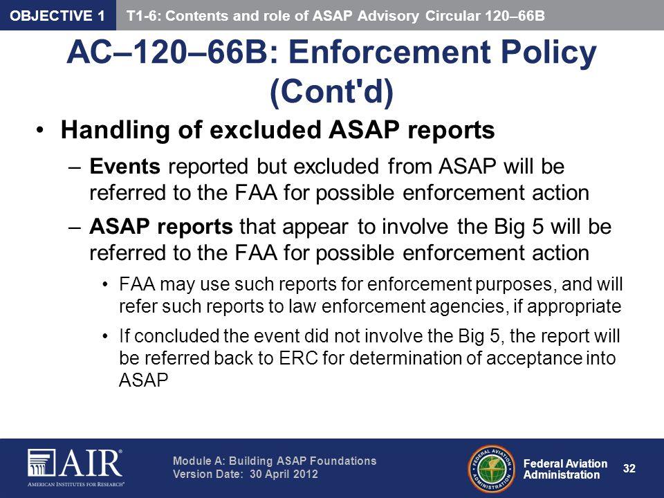 AC–120–66B: Enforcement Policy (Cont d)