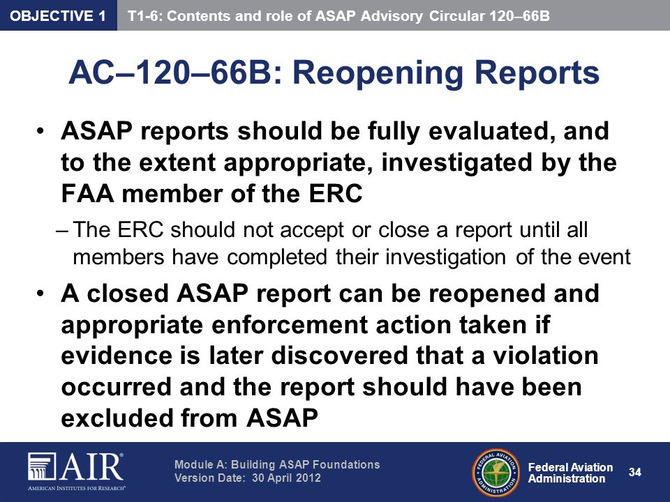 AC–120–66B: Reopening Reports