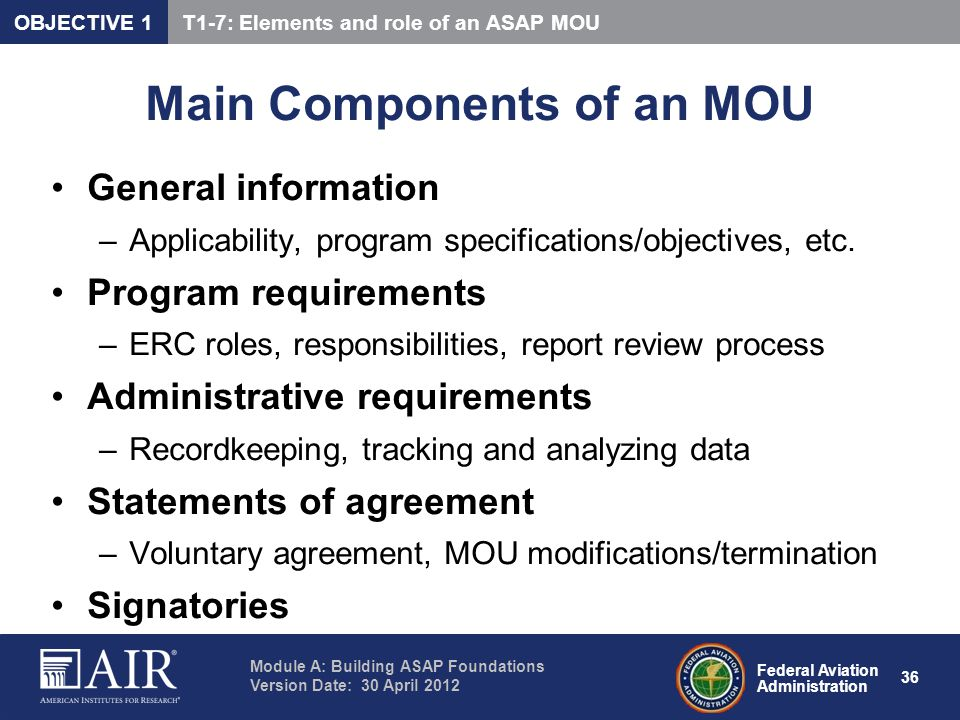 Main Components of an MOU