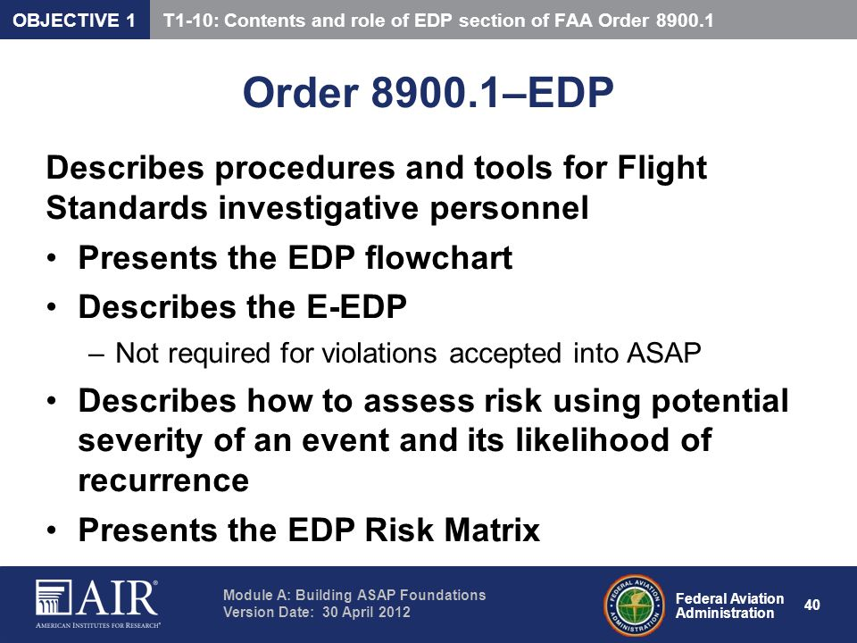 OBJECTIVE 1 T1-10: Contents and role of EDP section of FAA Order 8900.1. Order 8900.1–EDP.
