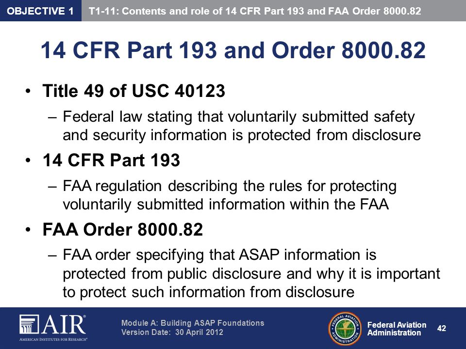 14 CFR Part 193 and Order 8000.82 Title 49 of USC 40123