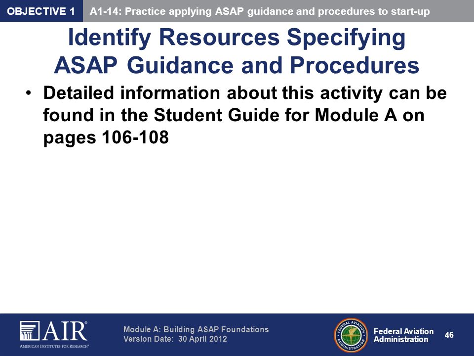 Identify Resources Specifying ASAP Guidance and Procedures