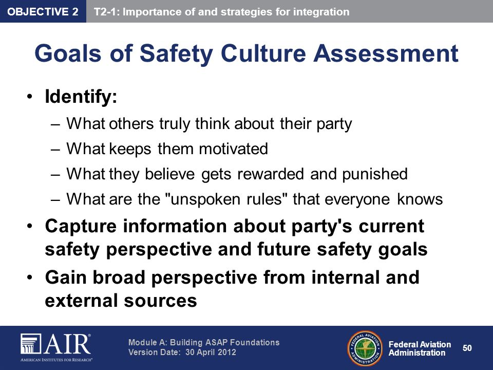 Goals of Safety Culture Assessment
