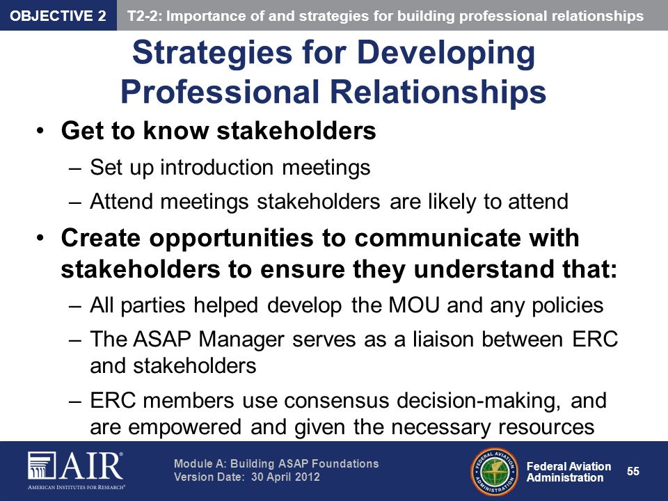 Strategies for Developing Professional Relationships
