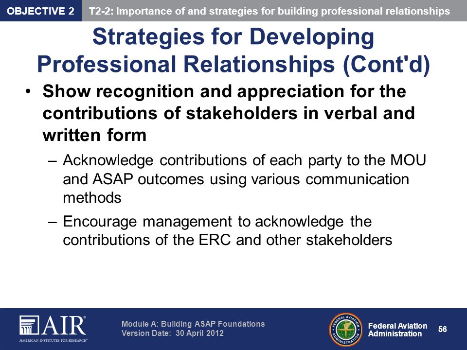 Strategies for Developing Professional Relationships (Cont d)