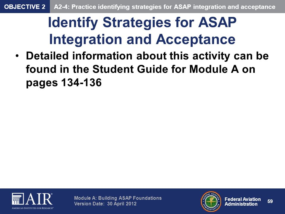Identify Strategies for ASAP Integration and Acceptance
