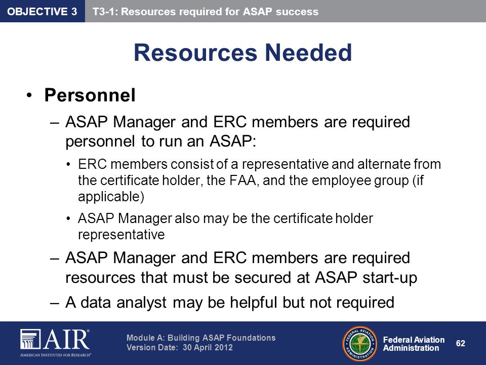 Resources Needed Personnel