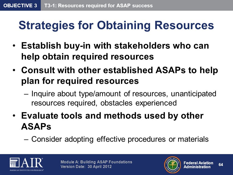 Strategies for Obtaining Resources