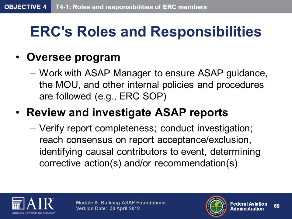 ERC s Roles and Responsibilities