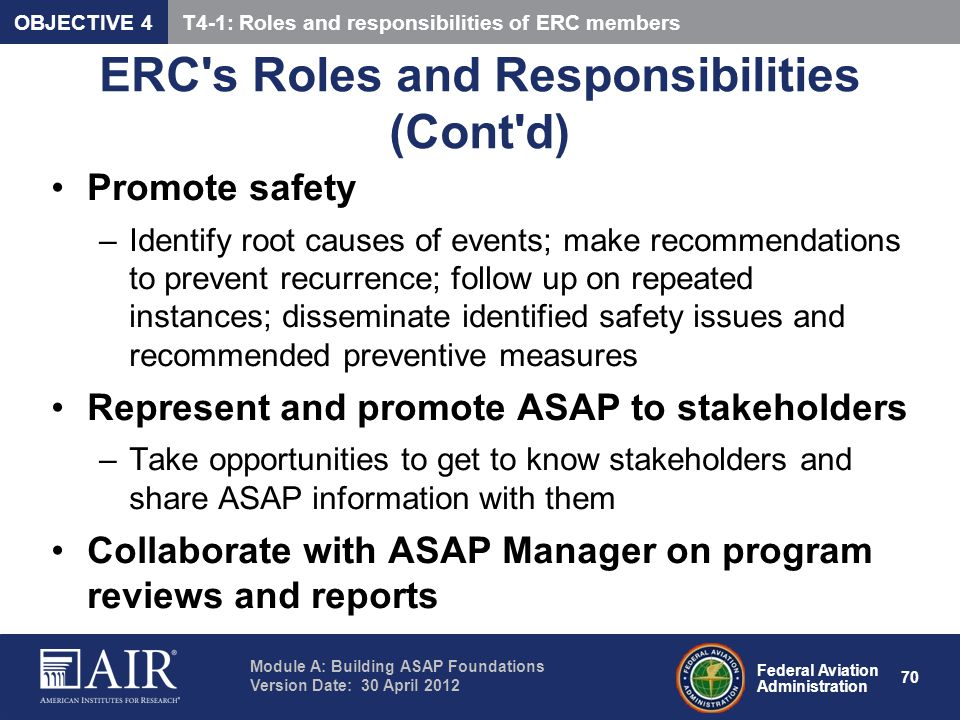 ERC s Roles and Responsibilities (Cont d)