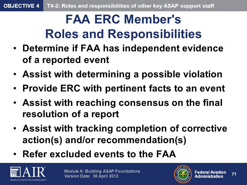 FAA ERC Member s Roles and Responsibilities