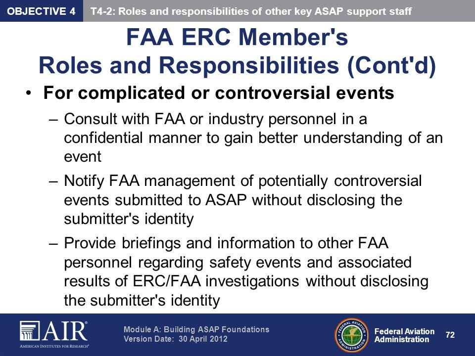 FAA ERC Member s Roles and Responsibilities (Cont d)