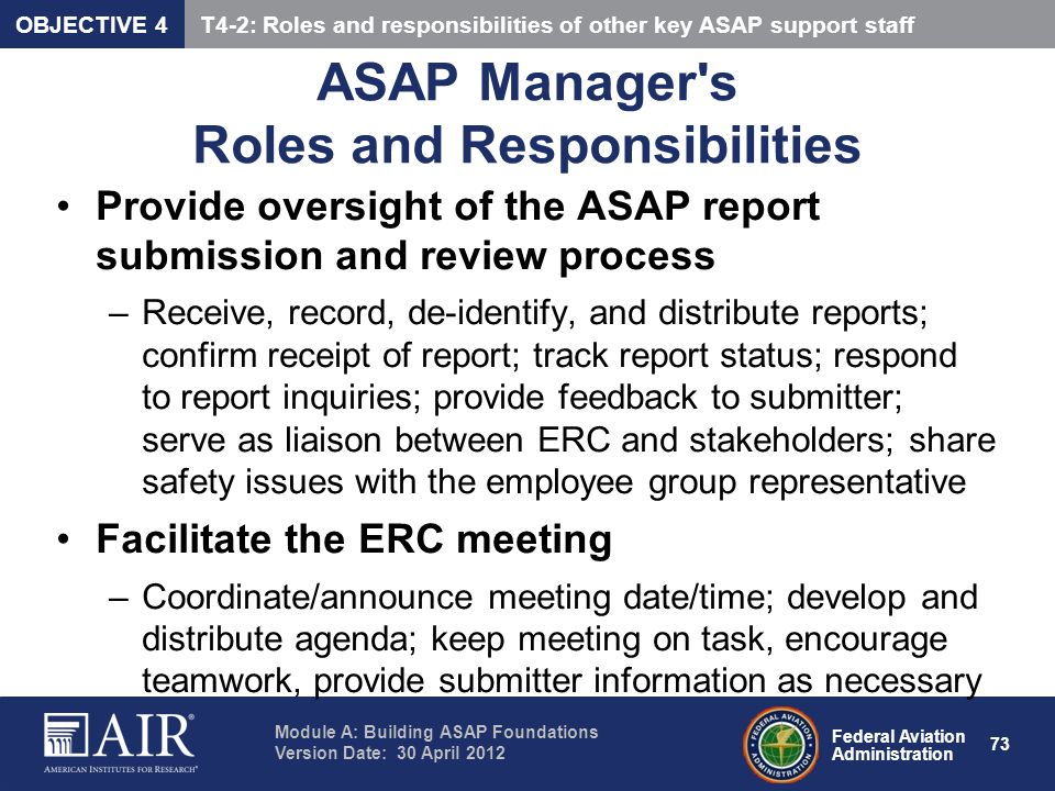 ASAP Manager s Roles and Responsibilities