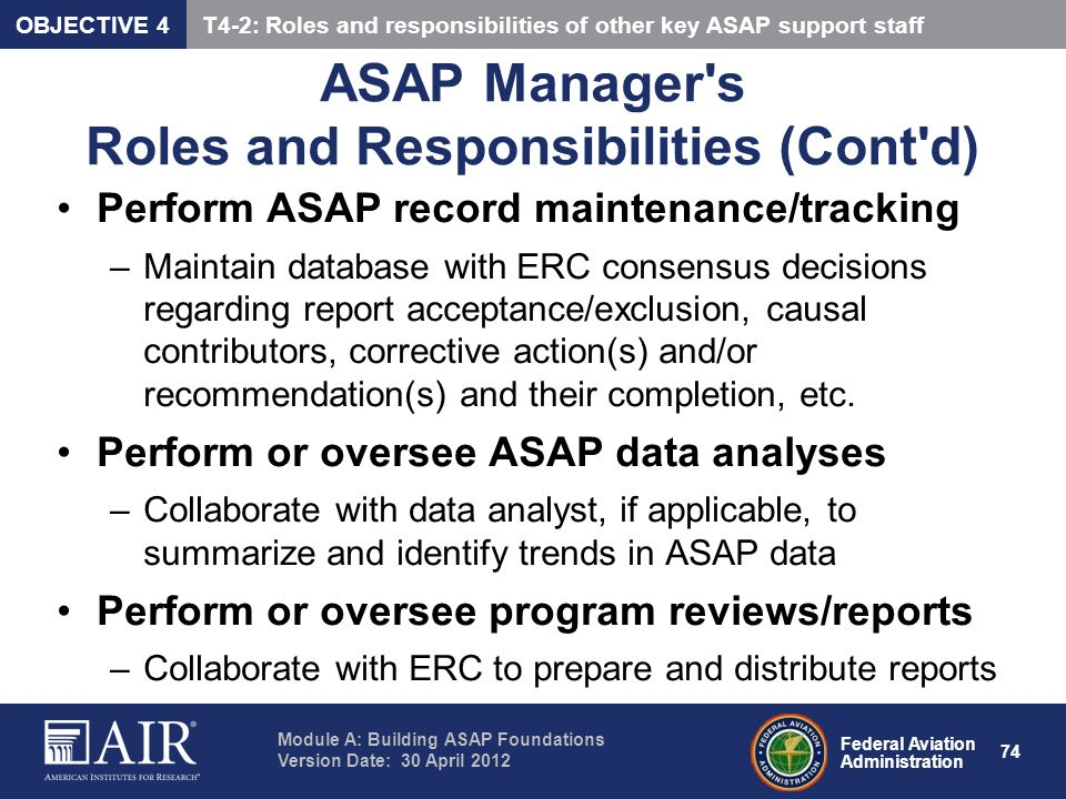 ASAP Manager s Roles and Responsibilities (Cont d)