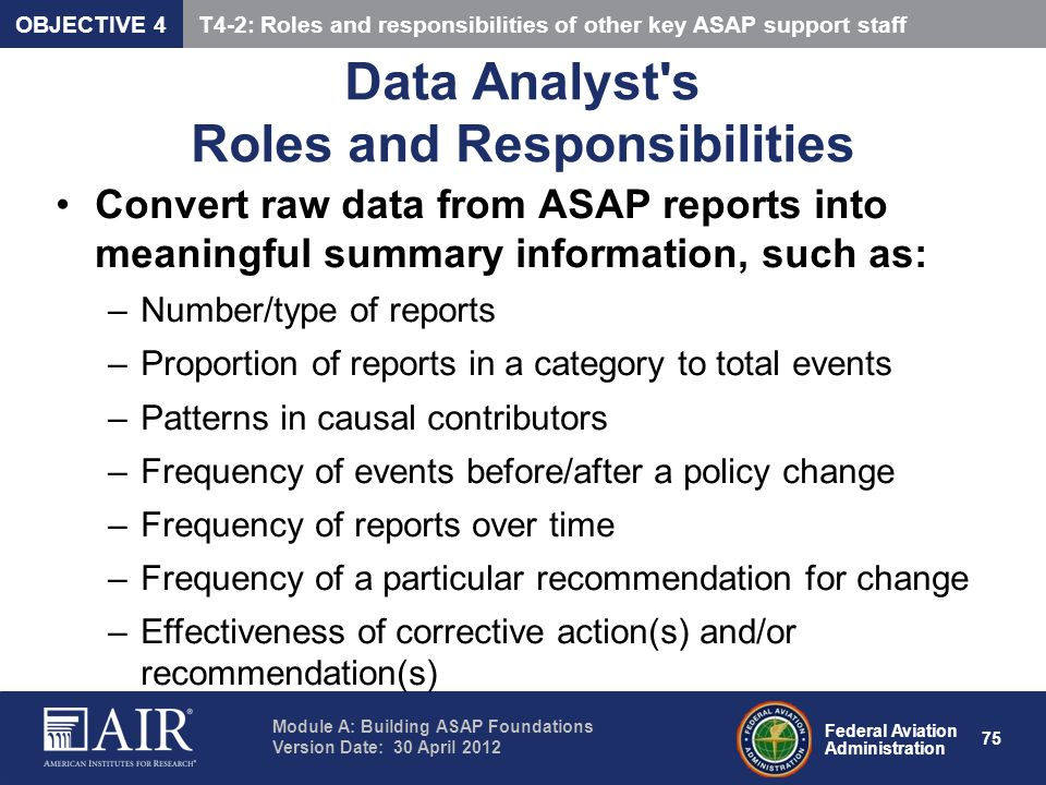 Data Analyst s Roles and Responsibilities