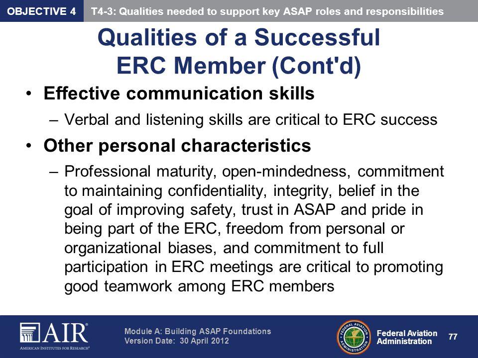 Qualities of a Successful ERC Member (Cont d)