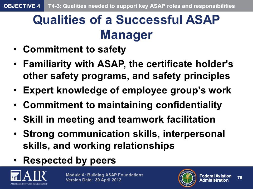 Qualities of a Successful ASAP Manager