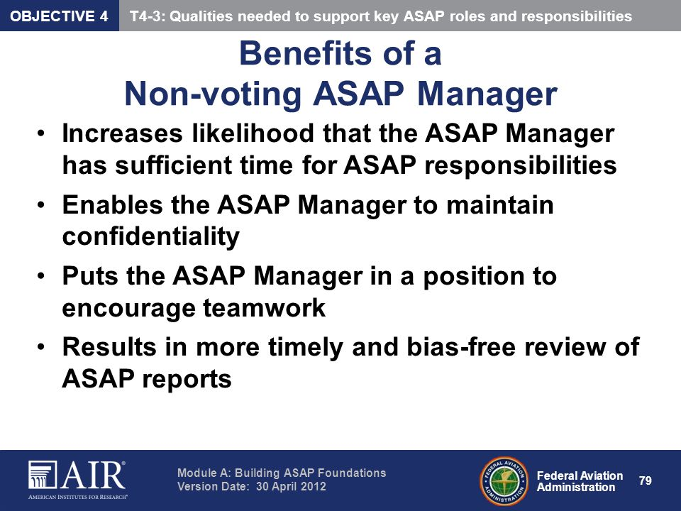 Benefits of a Non-voting ASAP Manager