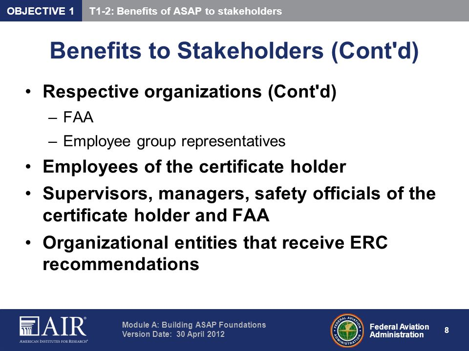 Benefits to Stakeholders (Cont d)