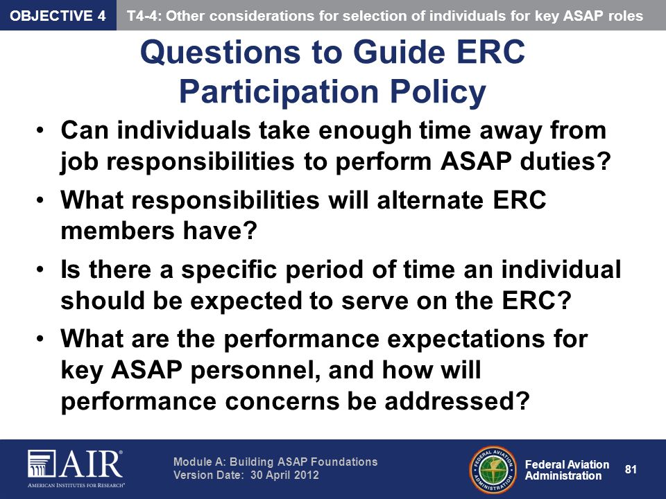 Questions to Guide ERC Participation Policy