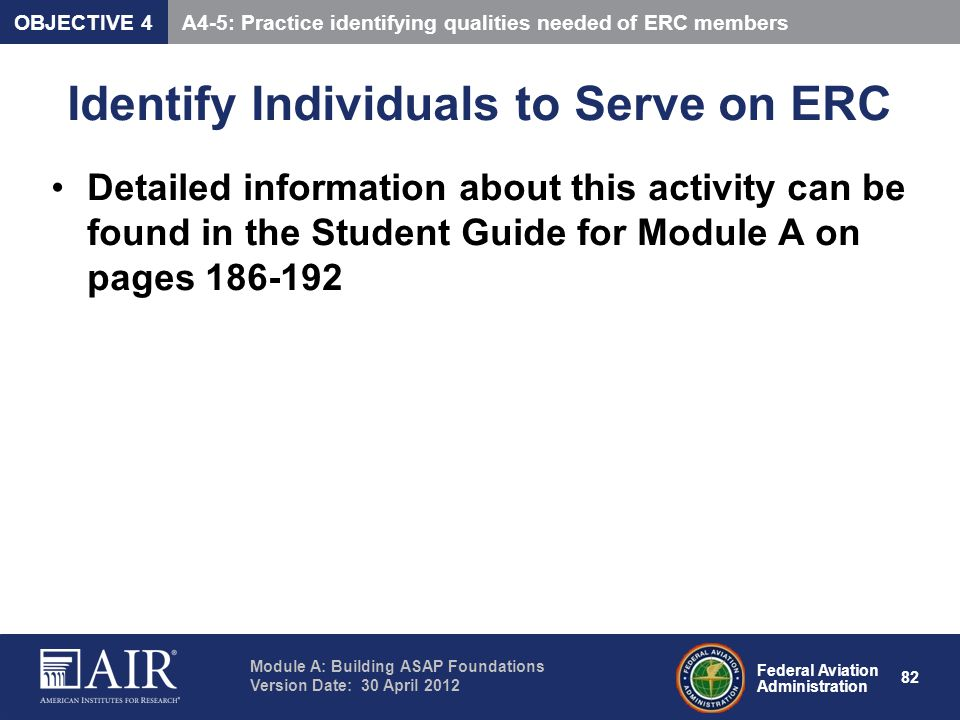 Identify Individuals to Serve on ERC