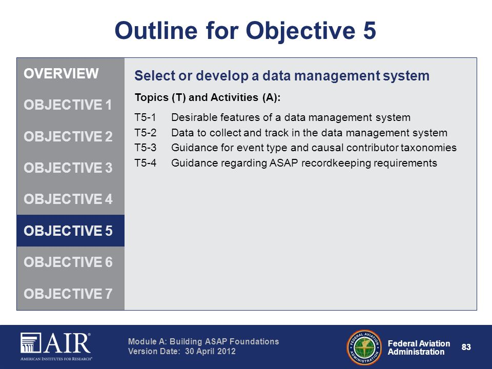 Outline for Objective 5 OVERVIEW
