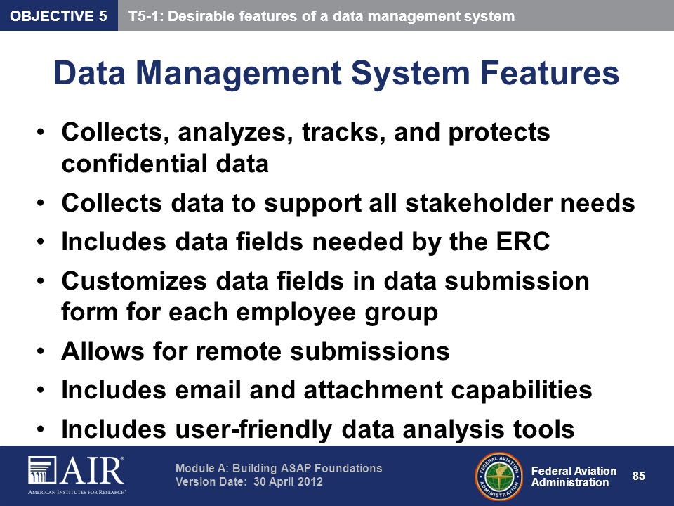 Data Management System Features