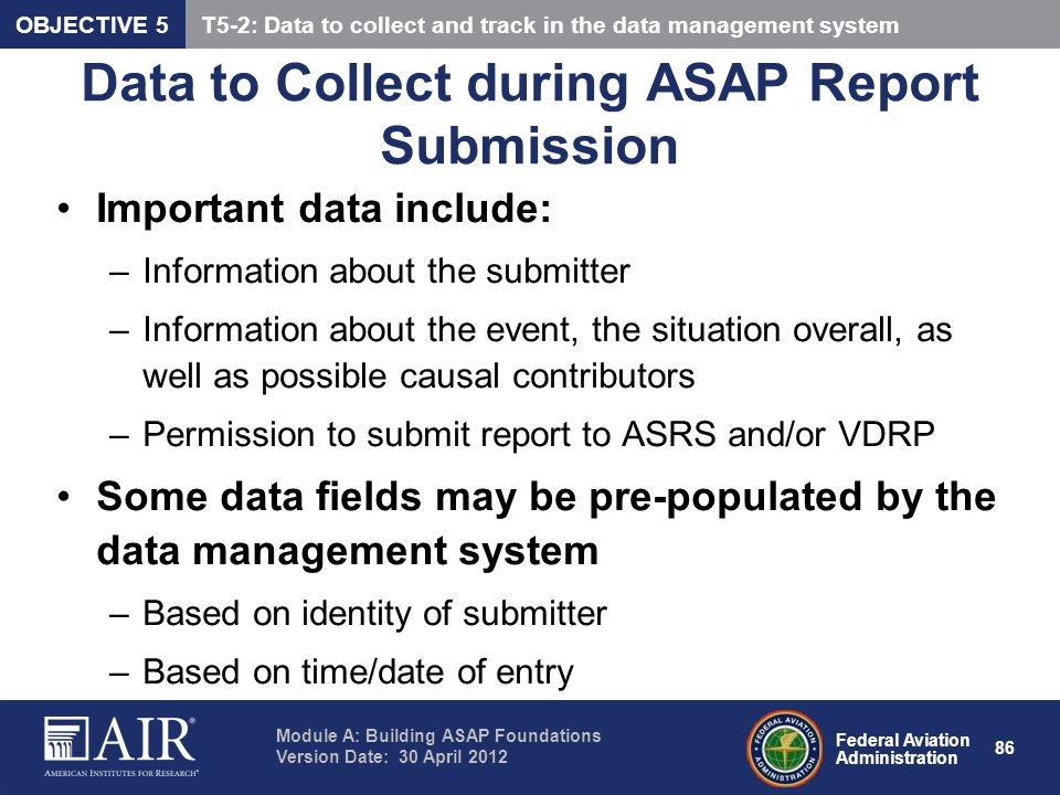 Data to Collect during ASAP Report Submission