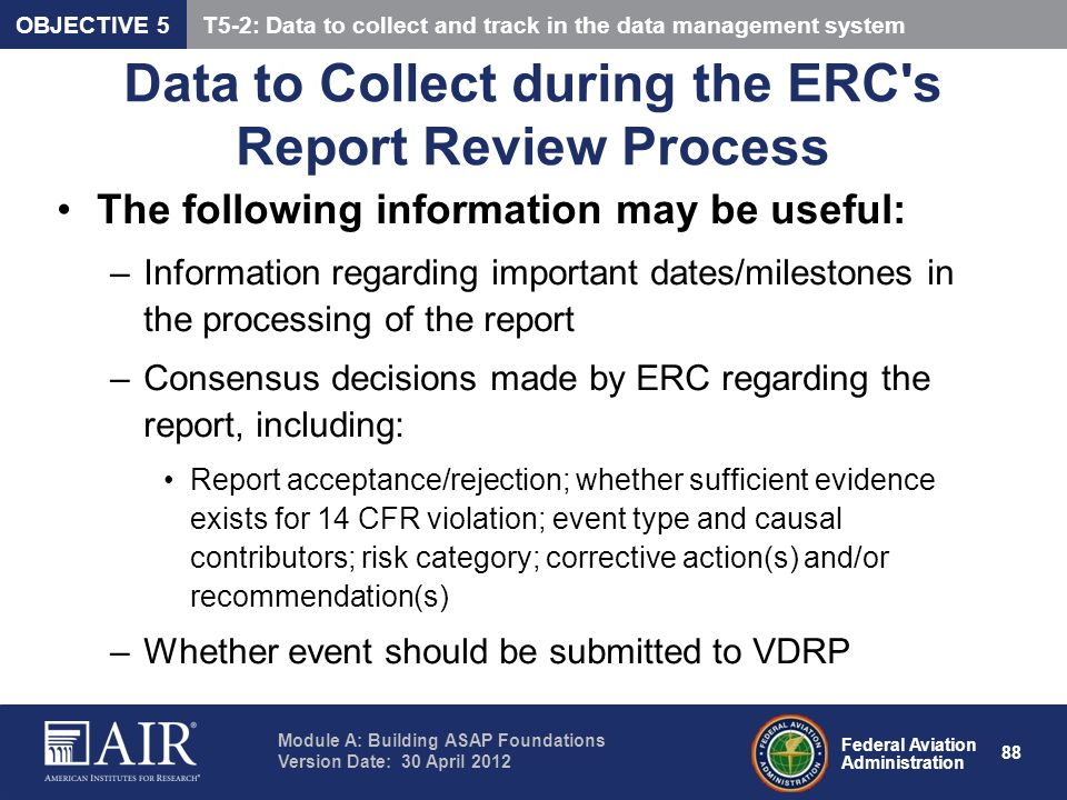 Data to Collect during the ERC s Report Review Process