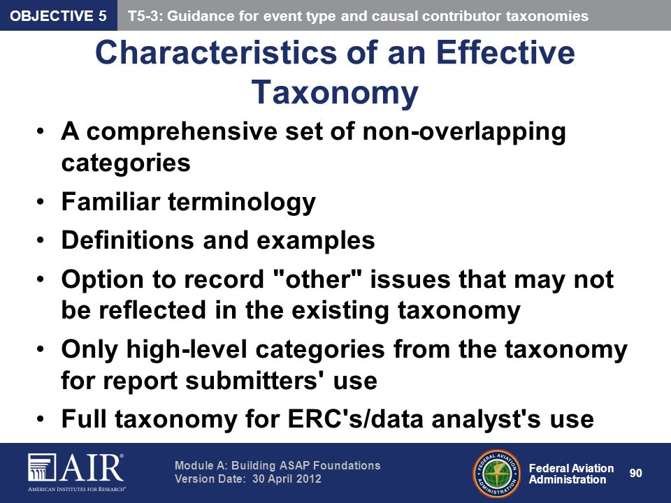 Characteristics of an Effective Taxonomy