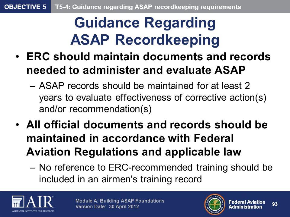 Guidance Regarding ASAP Recordkeeping