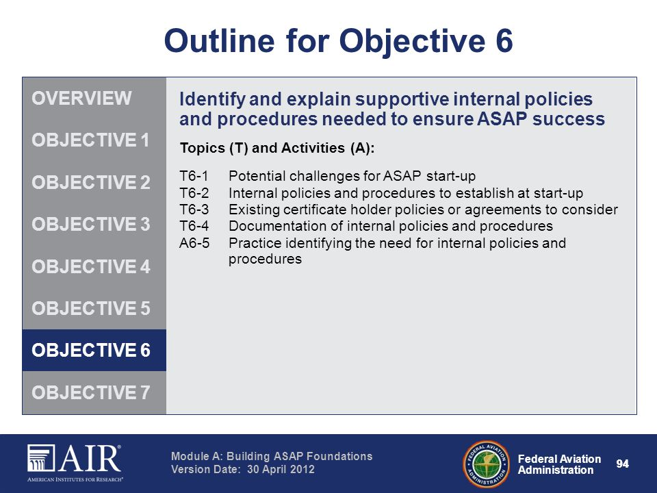 Outline for Objective 6 OVERVIEW