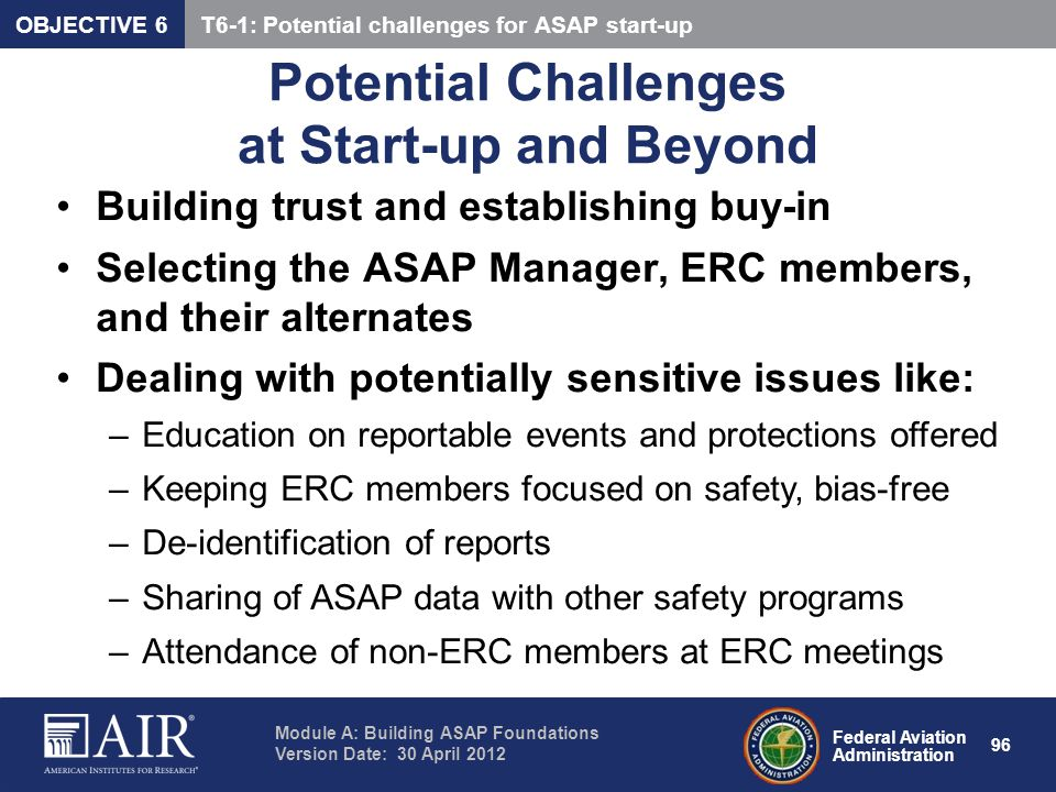 Potential Challenges at Start-up and Beyond