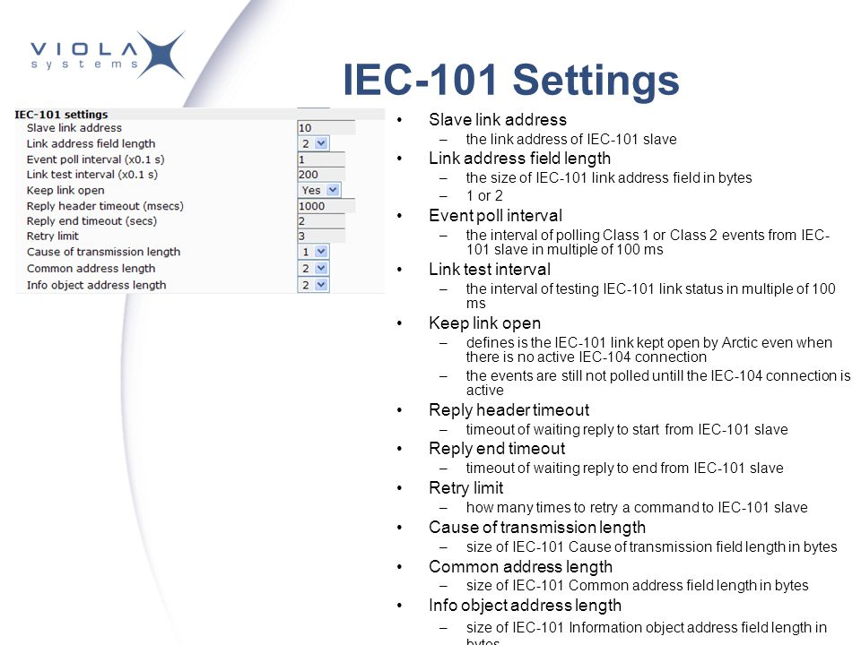 IEC-101 Settings Slave link address Link address field length