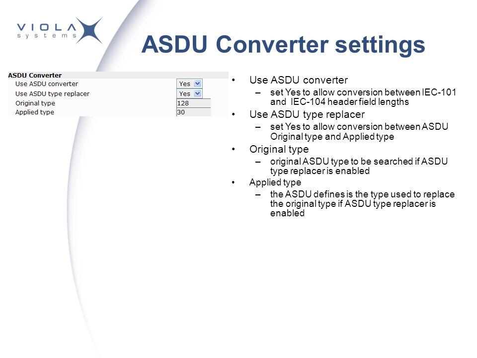 ASDU Converter settings