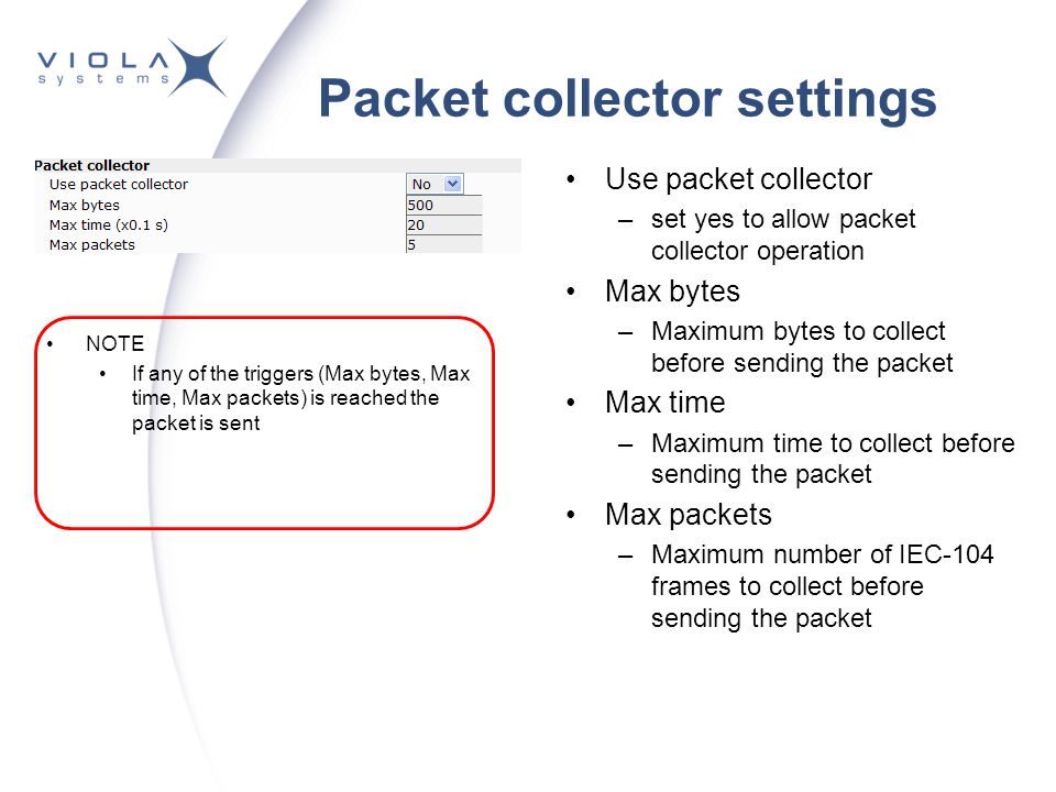 Packet collector settings