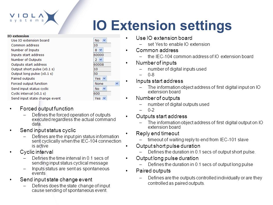 IO Extension settings Use IO extension board Common address