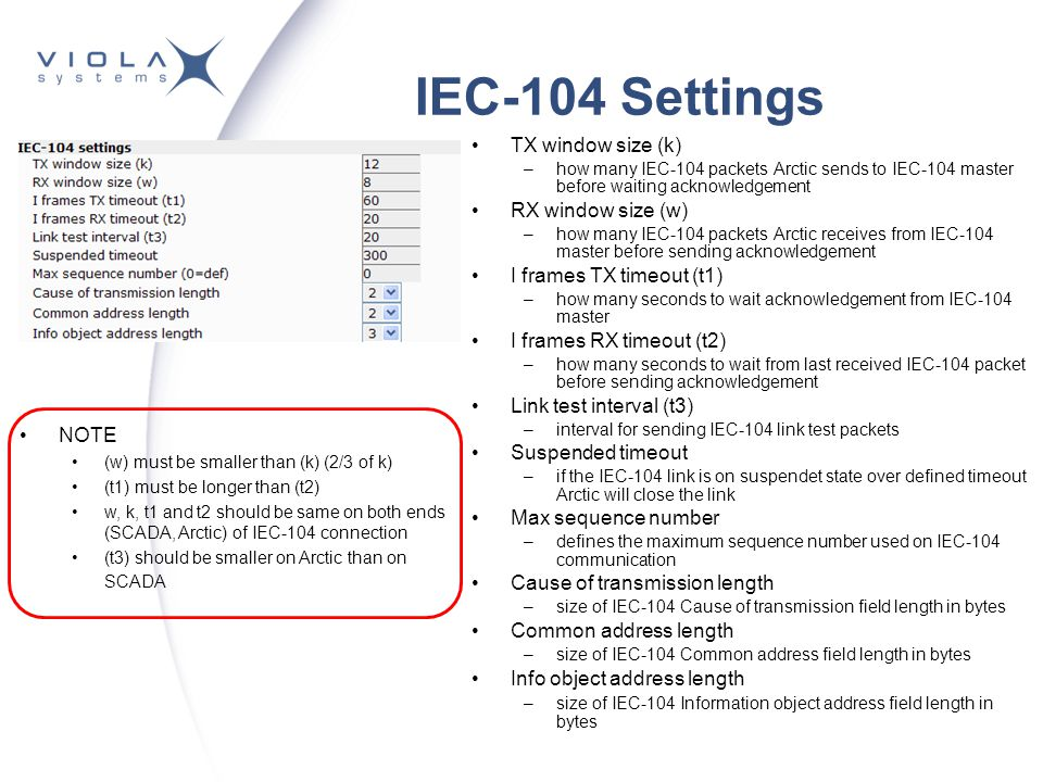 IEC-104 Settings TX window size (k) RX window size (w)