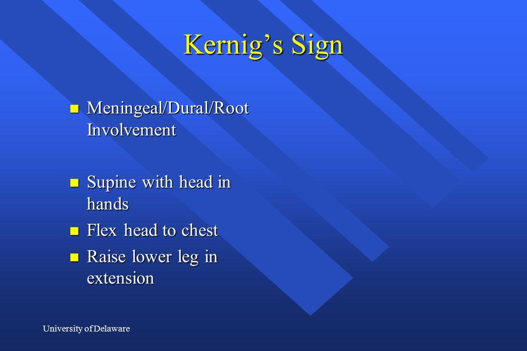 Kernig's Sign Meningeal/Dural/Root Involvement